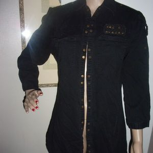 black button up cover jacket top tee shirt